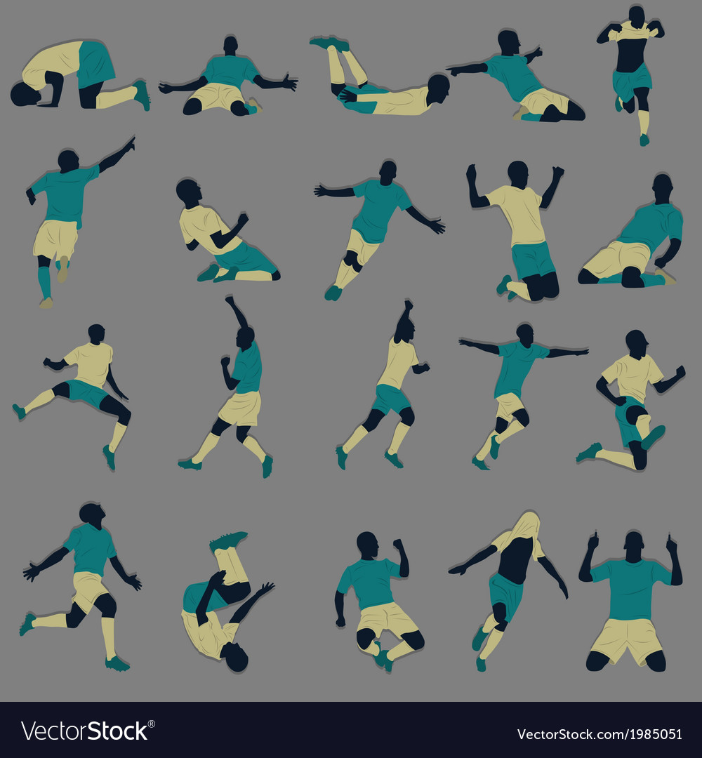 Goal celebration silhouette vector | Price: 1 Credit (USD $1)