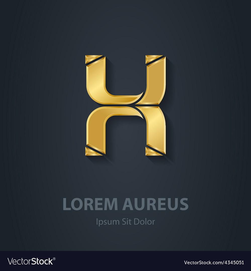 Gold letter x elegant font template for golden vector