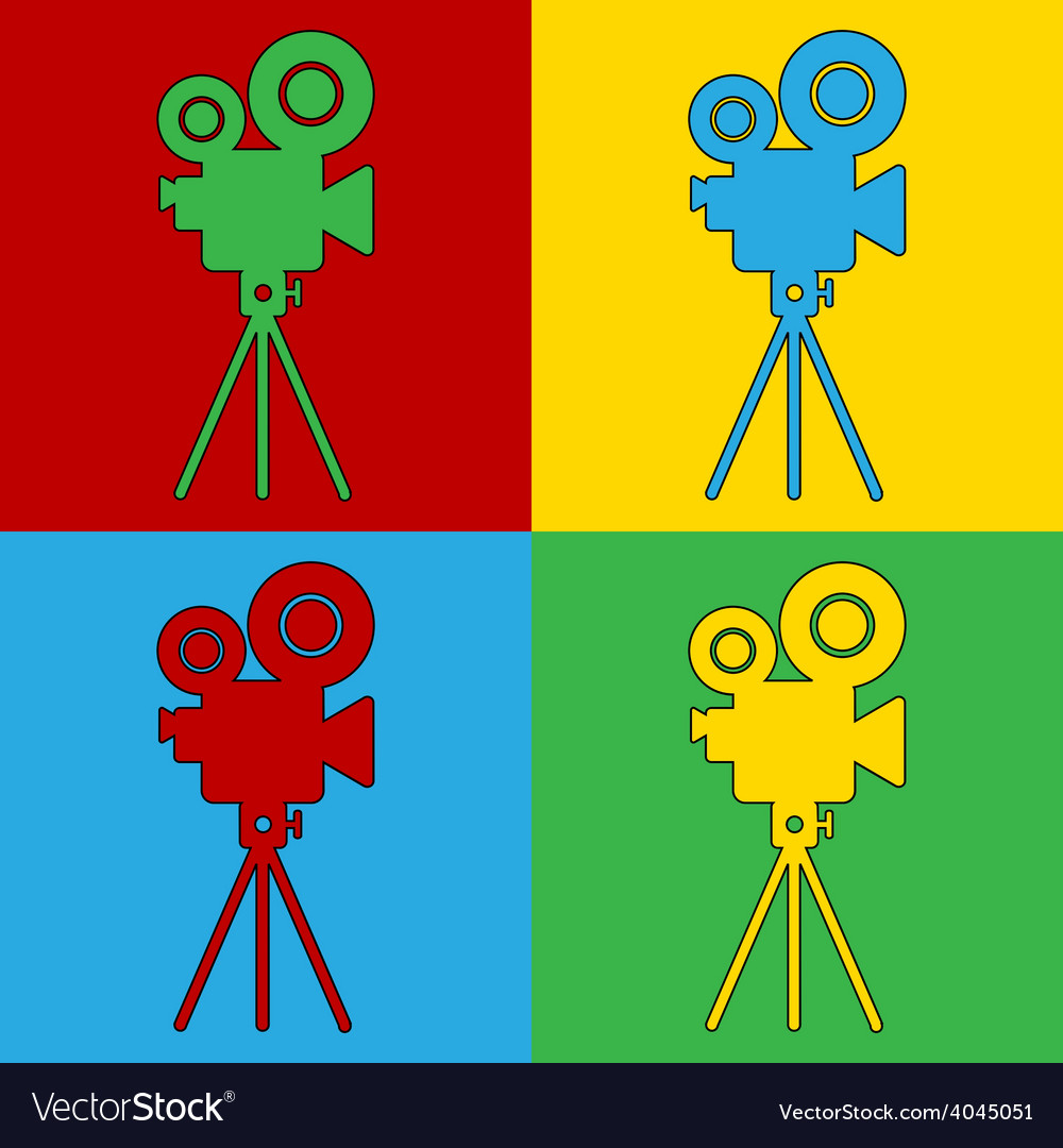 Pop art camera icons vector | Price: 1 Credit (USD $1)