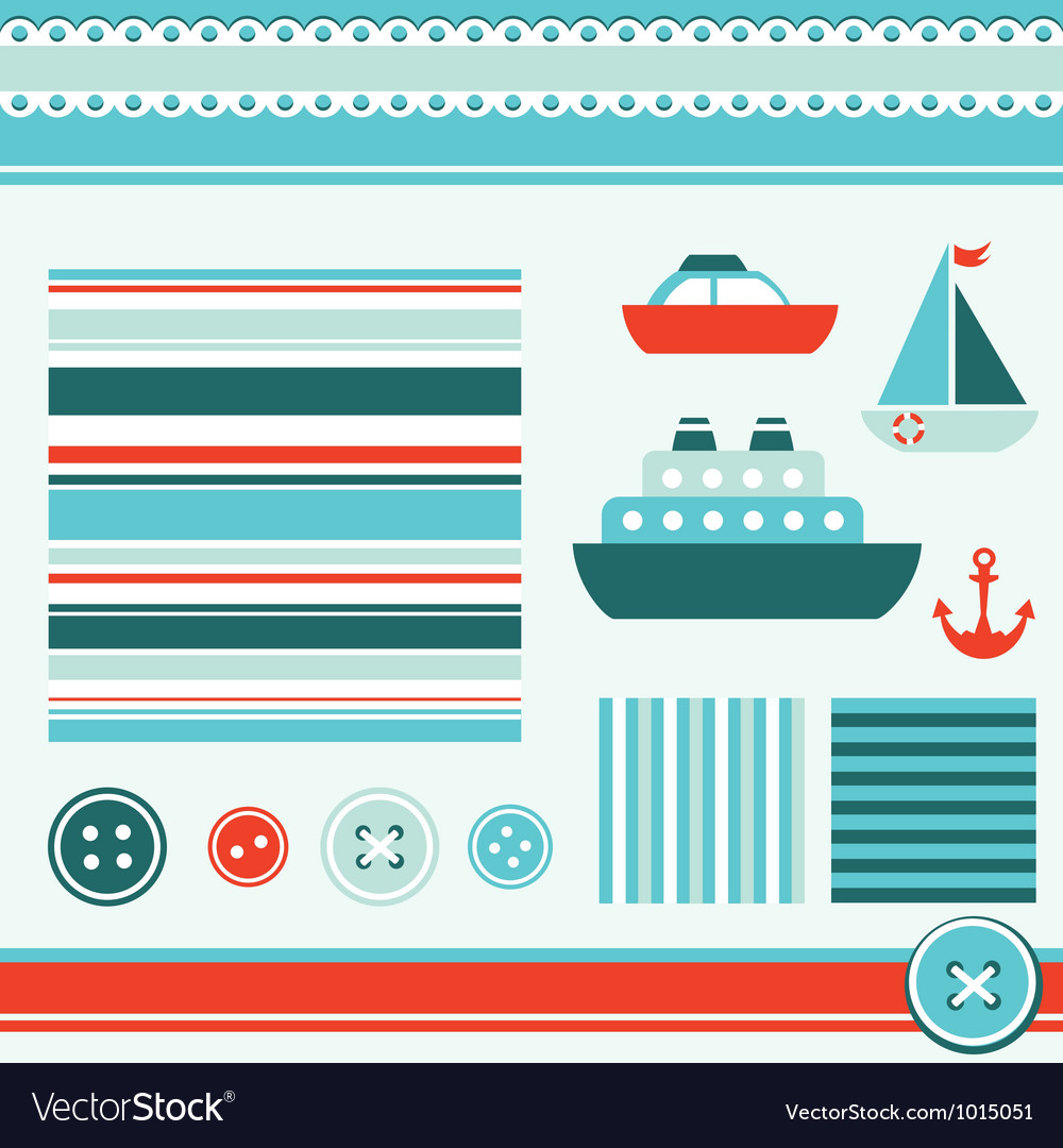 Sea theme elements for scrapbooking vector | Price: 1 Credit (USD $1)