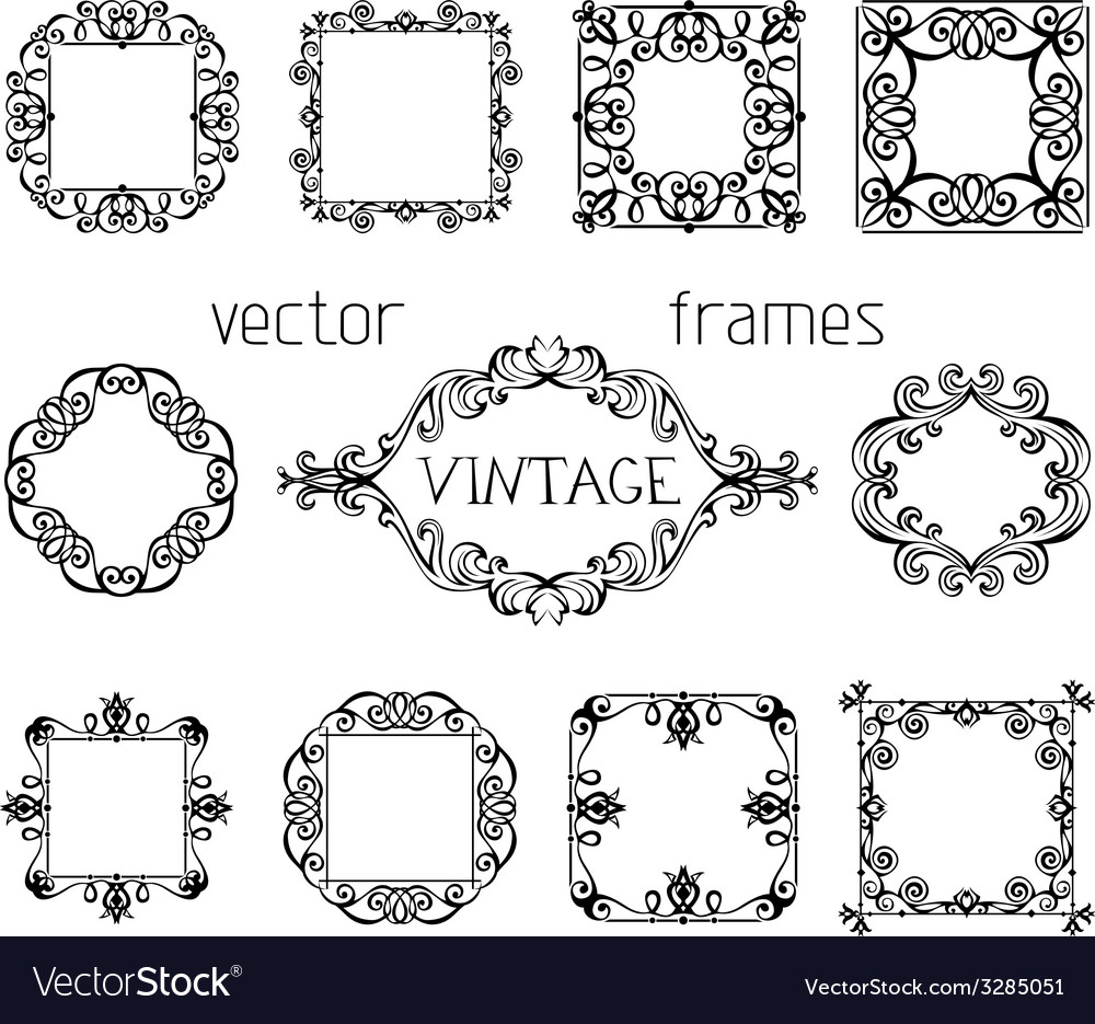 Set of vintage ornate frames vector | Price: 1 Credit (USD $1)