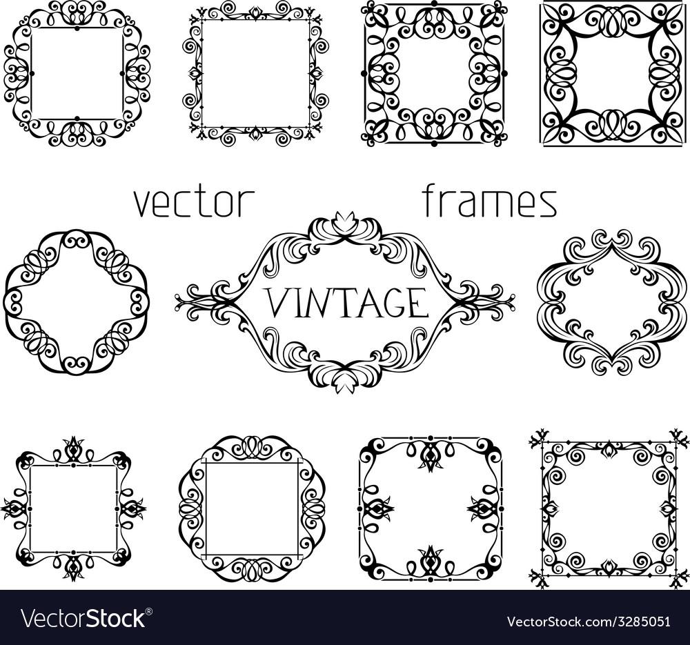 Set of vintage ornate frames vector | Price: 1 Credit (USD $1)