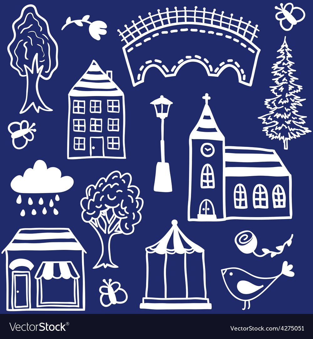 Small town design elements vector | Price: 1 Credit (USD $1)