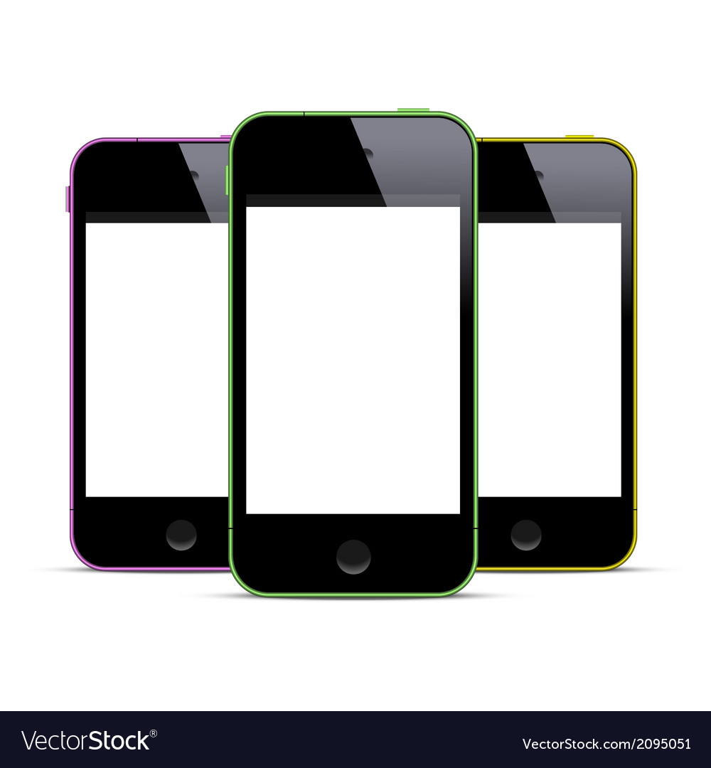 Three colored smartphones with blank screens vector | Price: 1 Credit (USD $1)