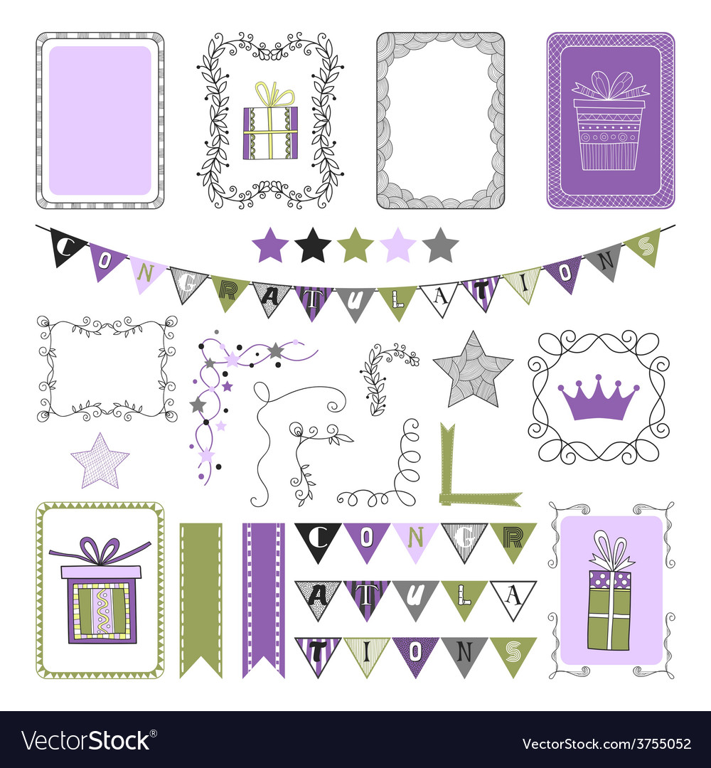 Design elements for holiday party congratulation vector | Price: 1 Credit (USD $1)