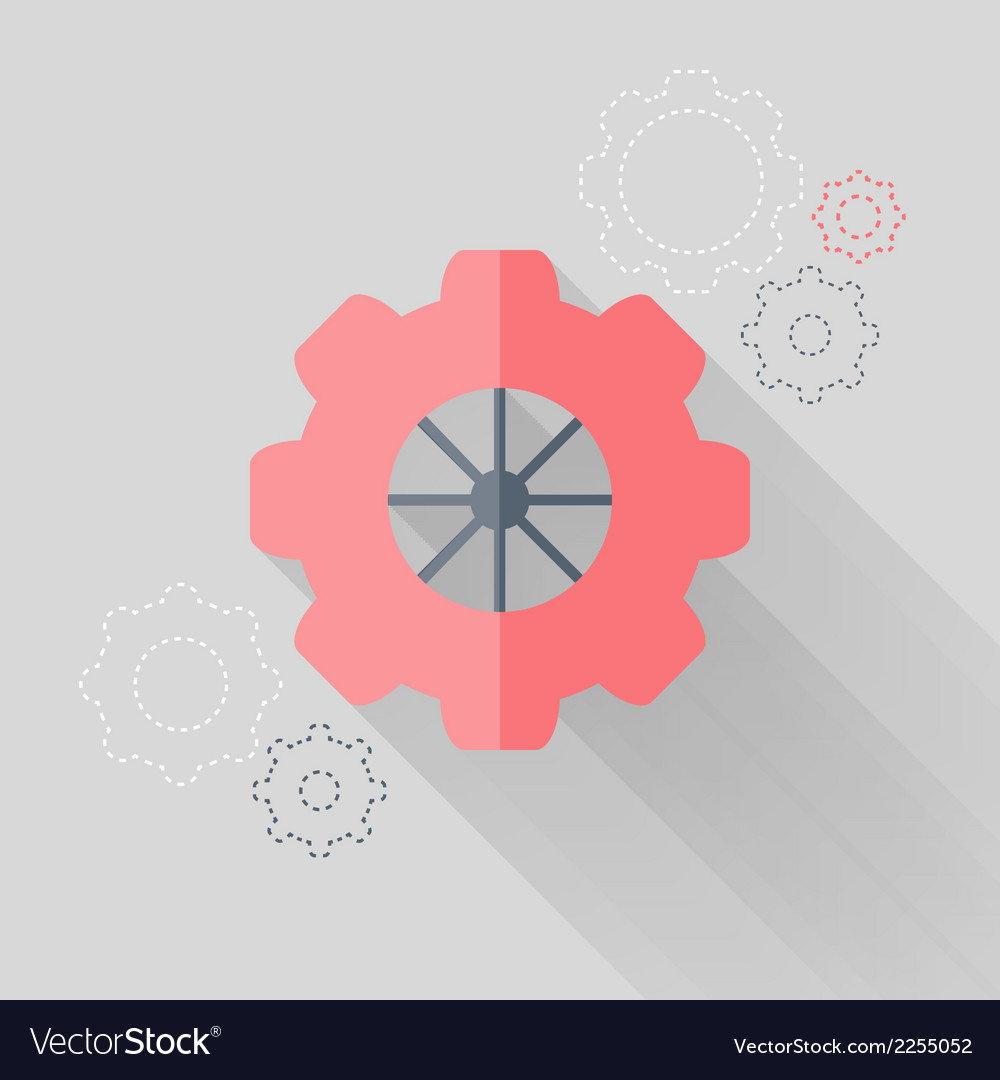 Flat gear wheel icons over white vector | Price: 1 Credit (USD $1)