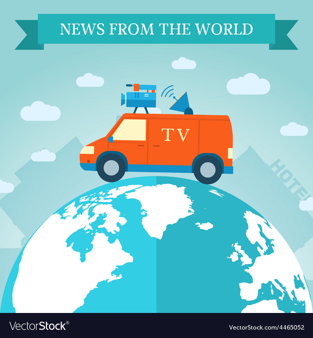 Flat news car icon travels around the world vector