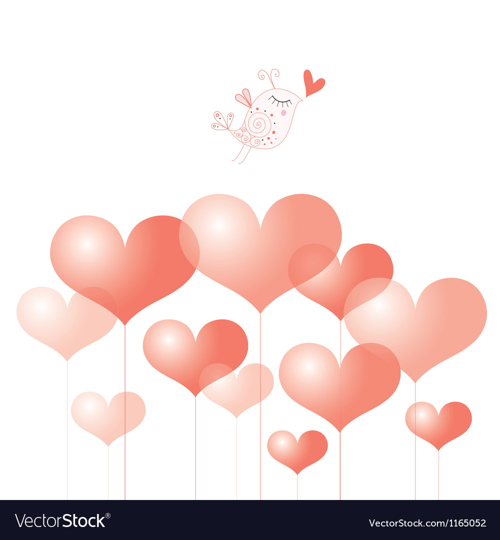 Holiday heart and bird vector | Price: 1 Credit (USD $1)