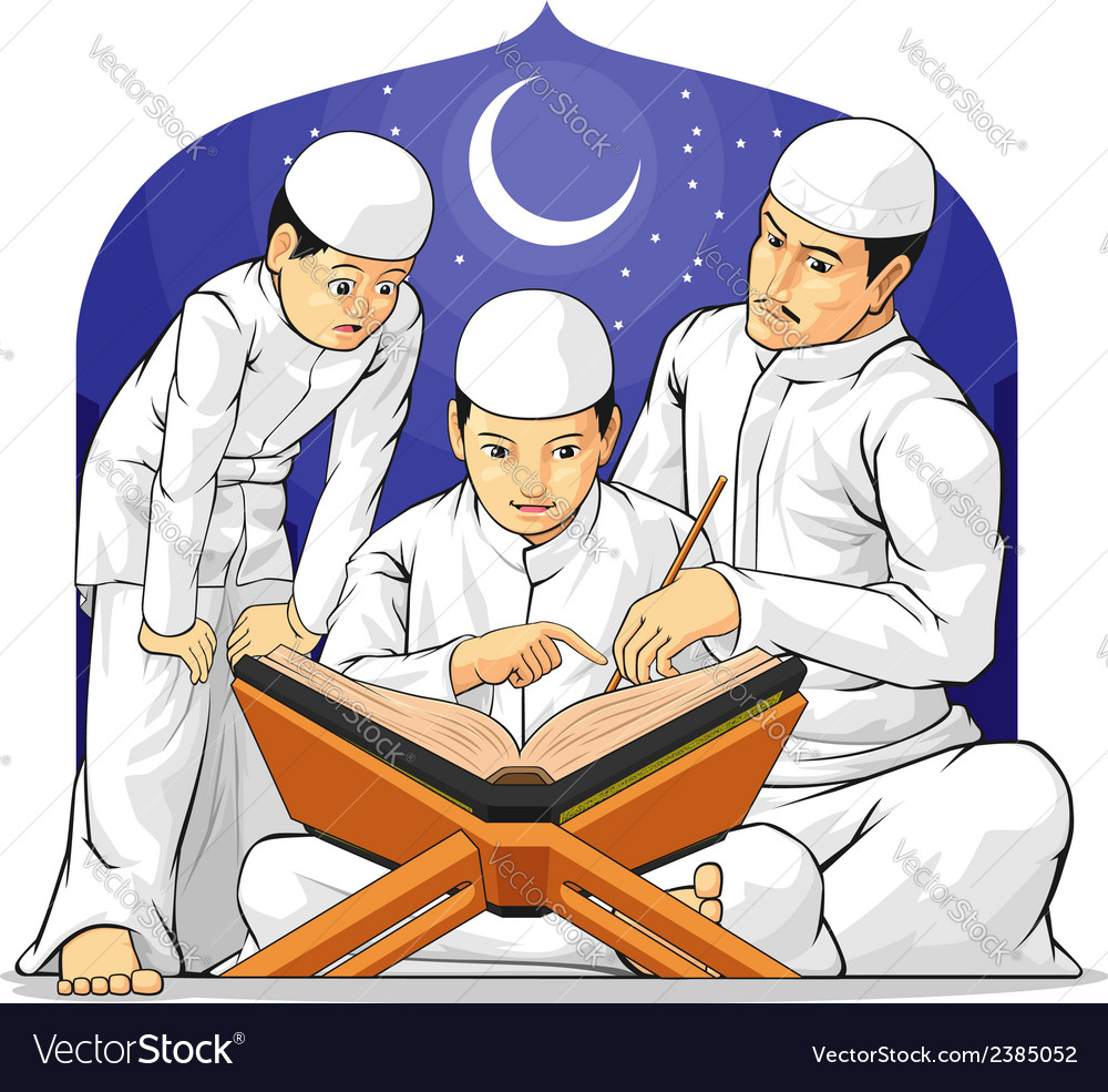 Kids learn to read al quran with their father vector | Price: 1 Credit (USD $1)