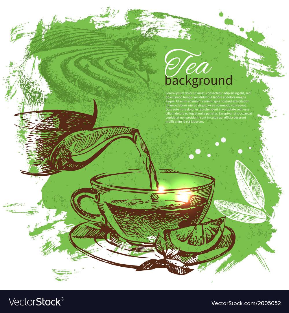 Tea vintage hand drawn sketch background vector | Price: 1 Credit (USD $1)