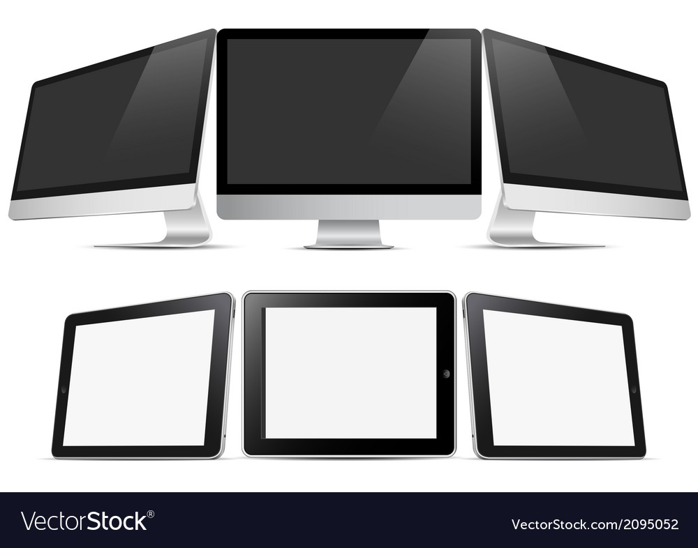 Three desktop computers and three tablets pc vector | Price: 1 Credit (USD $1)