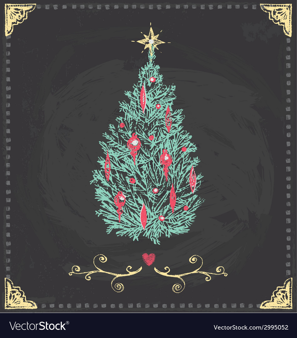 Vintage christmas tree chalkboard hand drawn set vector | Price: 1 Credit (USD $1)