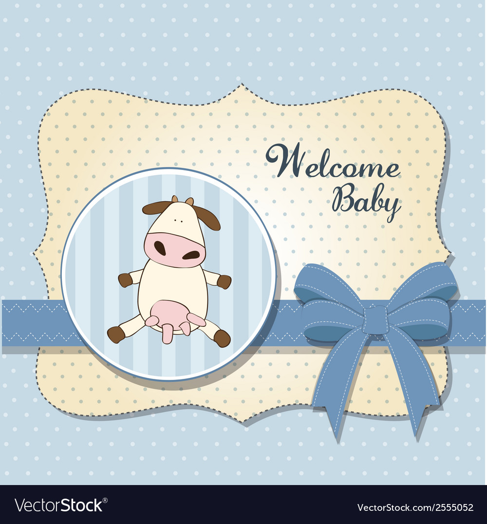 Welcome baby card with cow vector | Price: 1 Credit (USD $1)