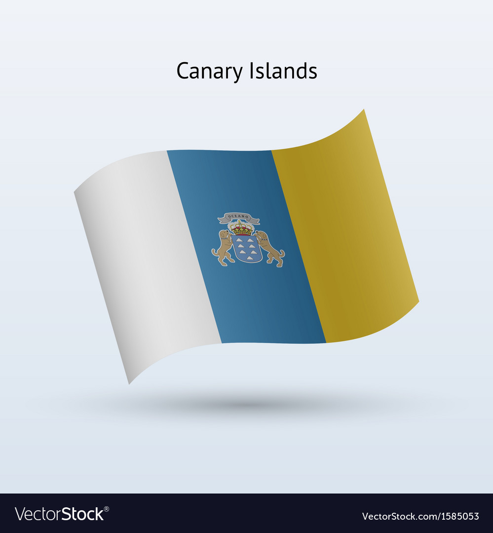Canary islands flag waving form vector | Price: 1 Credit (USD $1)