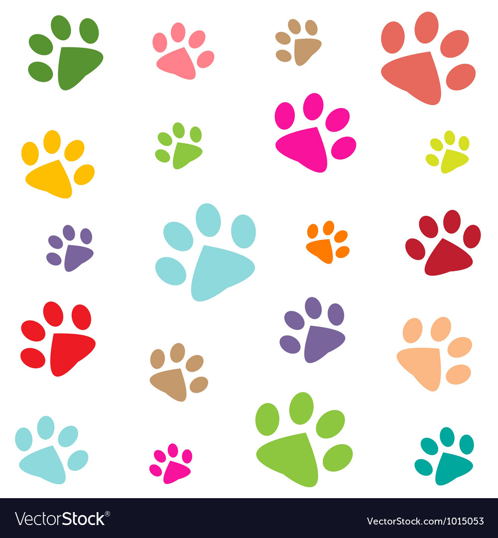 Colored pattern with paw prints vector | Price: 1 Credit (USD $1)