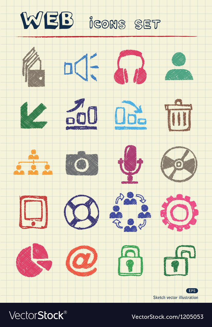 Doodle internet and finance icons set vector | Price: 1 Credit (USD $1)
