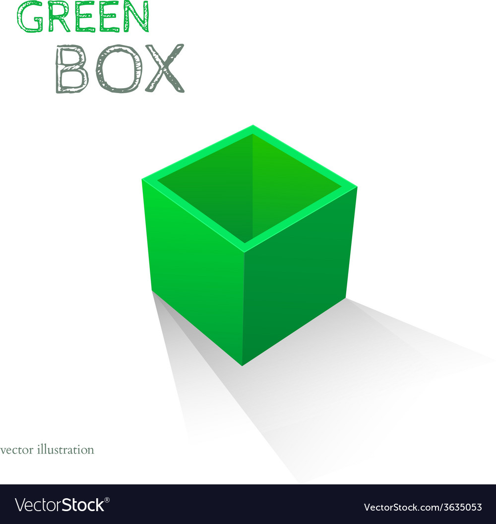 Green box isolated on white background vector | Price: 1 Credit (USD $1)
