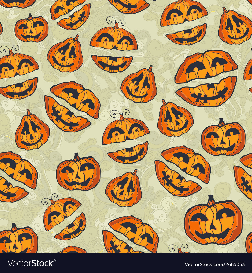 Halloween pumpkins pattern cute seamless vector | Price: 1 Credit (USD $1)
