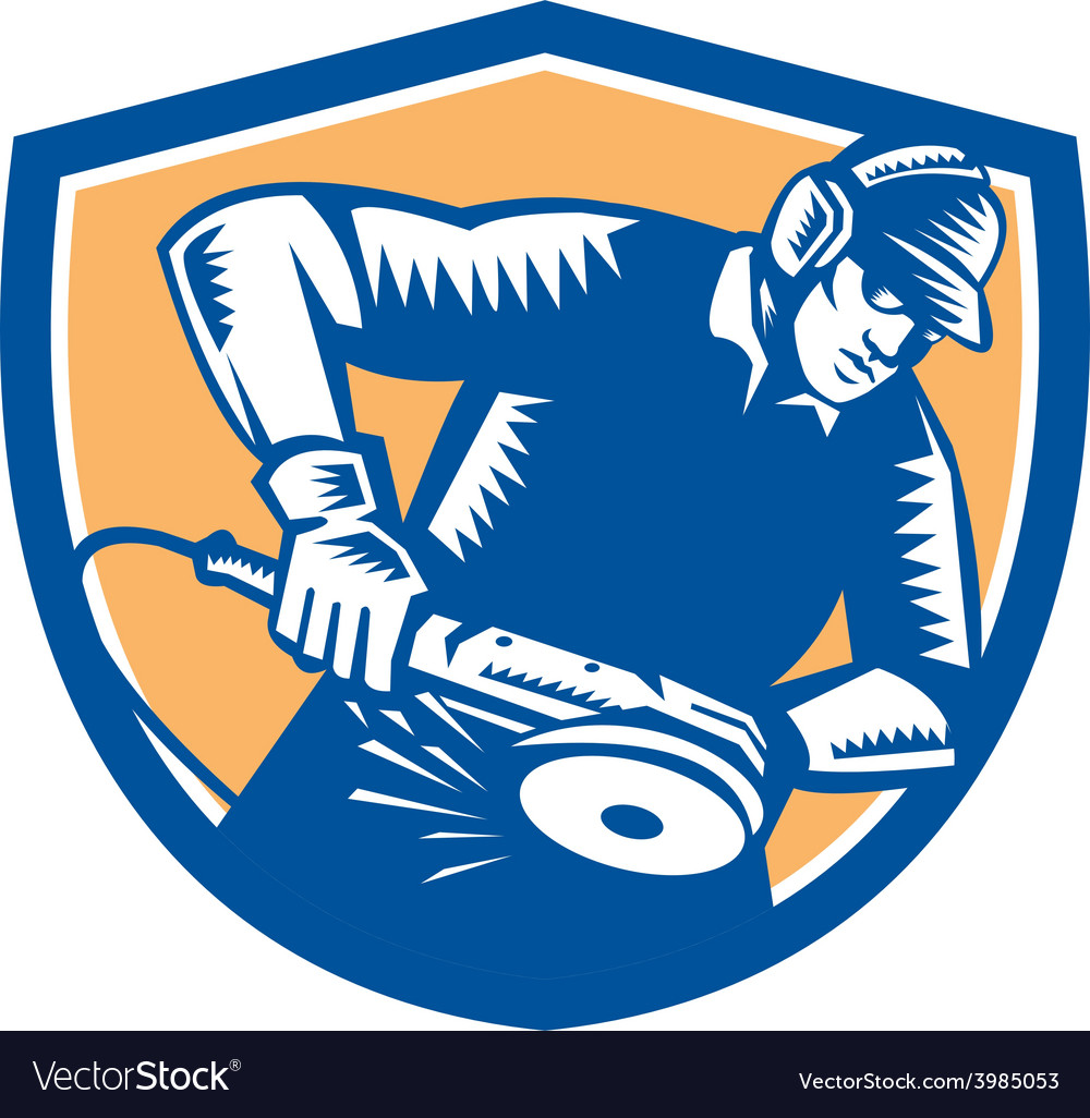 Metal worker operating grinder woodcut retro vector | Price: 1 Credit (USD $1)
