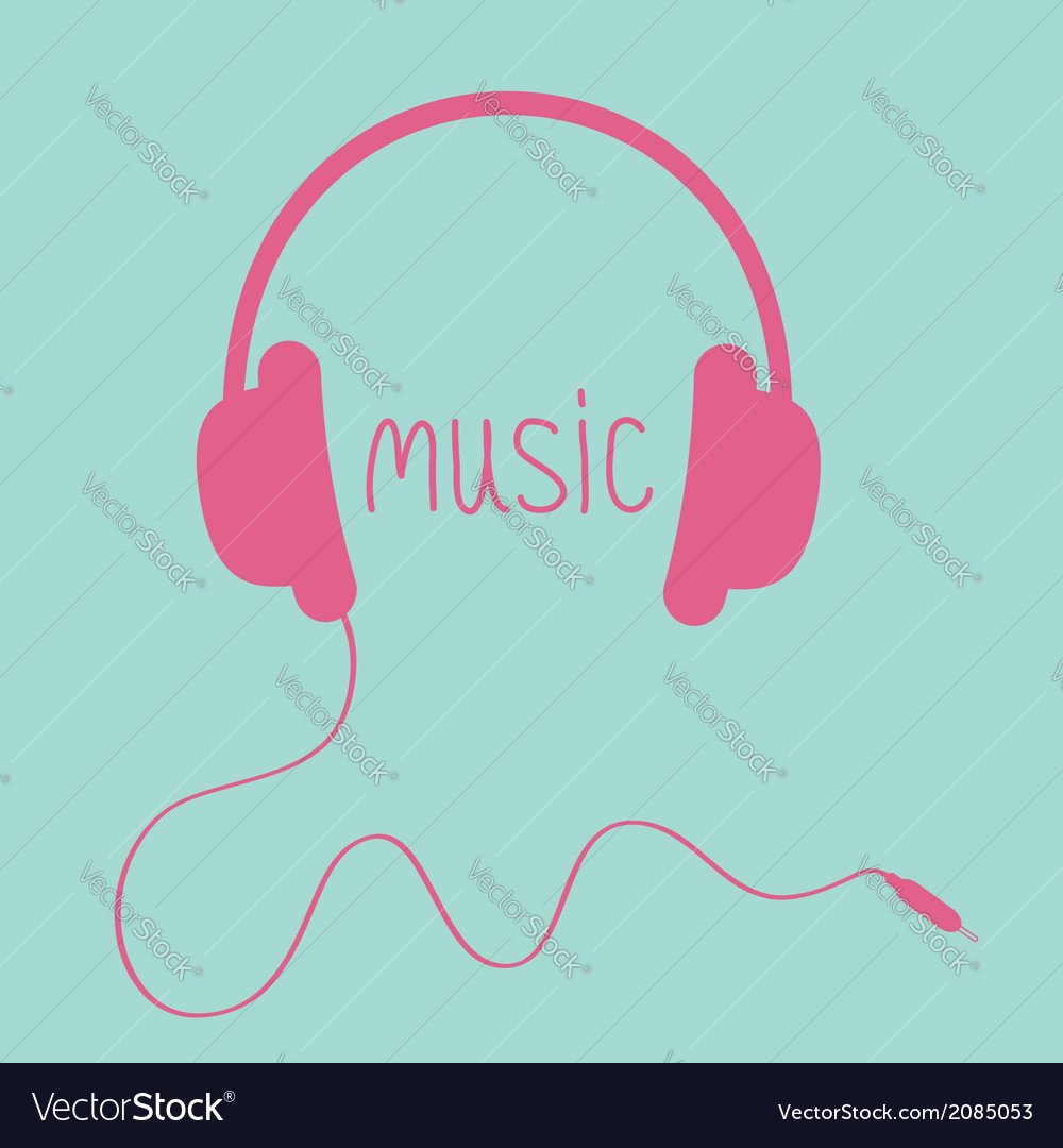 Pink headphones with cord and word music card vector | Price: 1 Credit (USD $1)