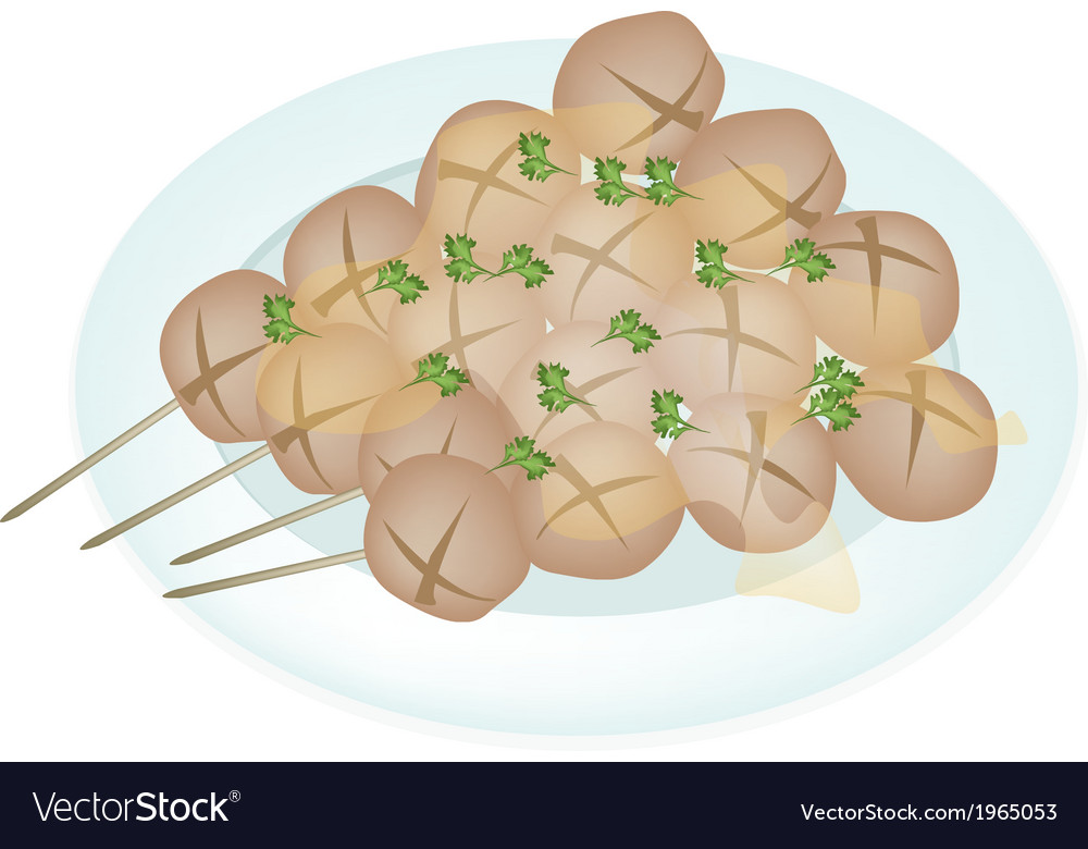 Thai style grilled meatball in white plate vector | Price: 1 Credit (USD $1)