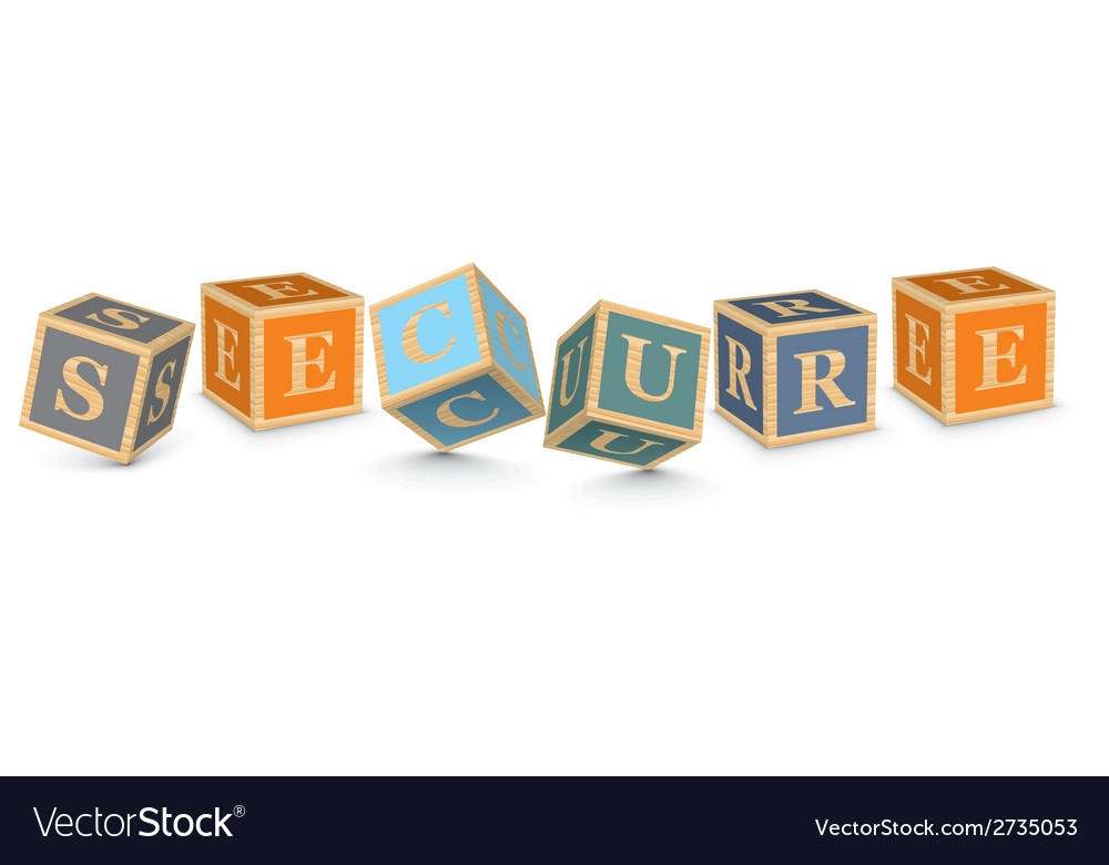 Word secure written with alphabet blocks vector | Price: 1 Credit (USD $1)