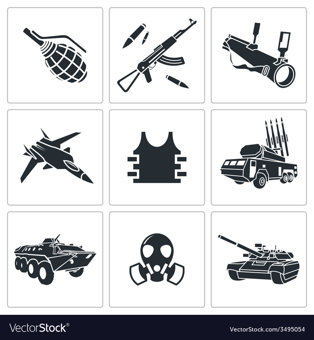 Armament icon set vector | Price: 1 Credit (USD $1)