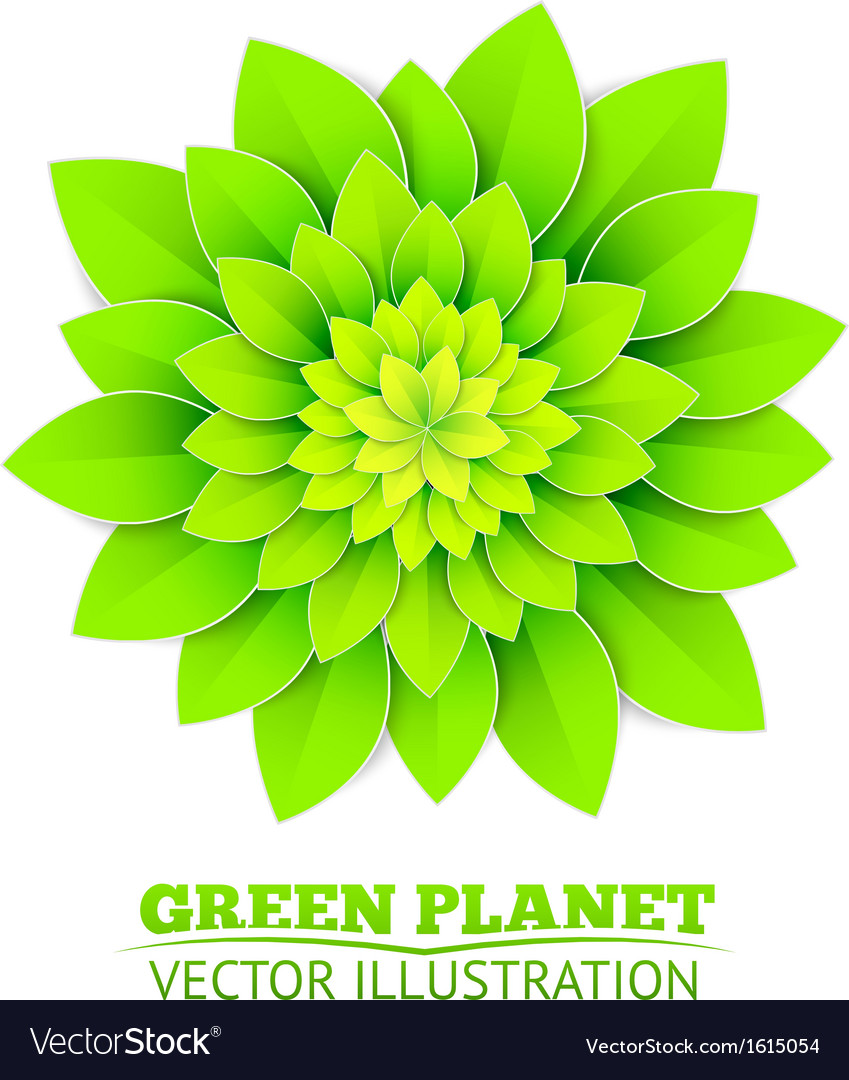 Background with green flower vector | Price: 1 Credit (USD $1)