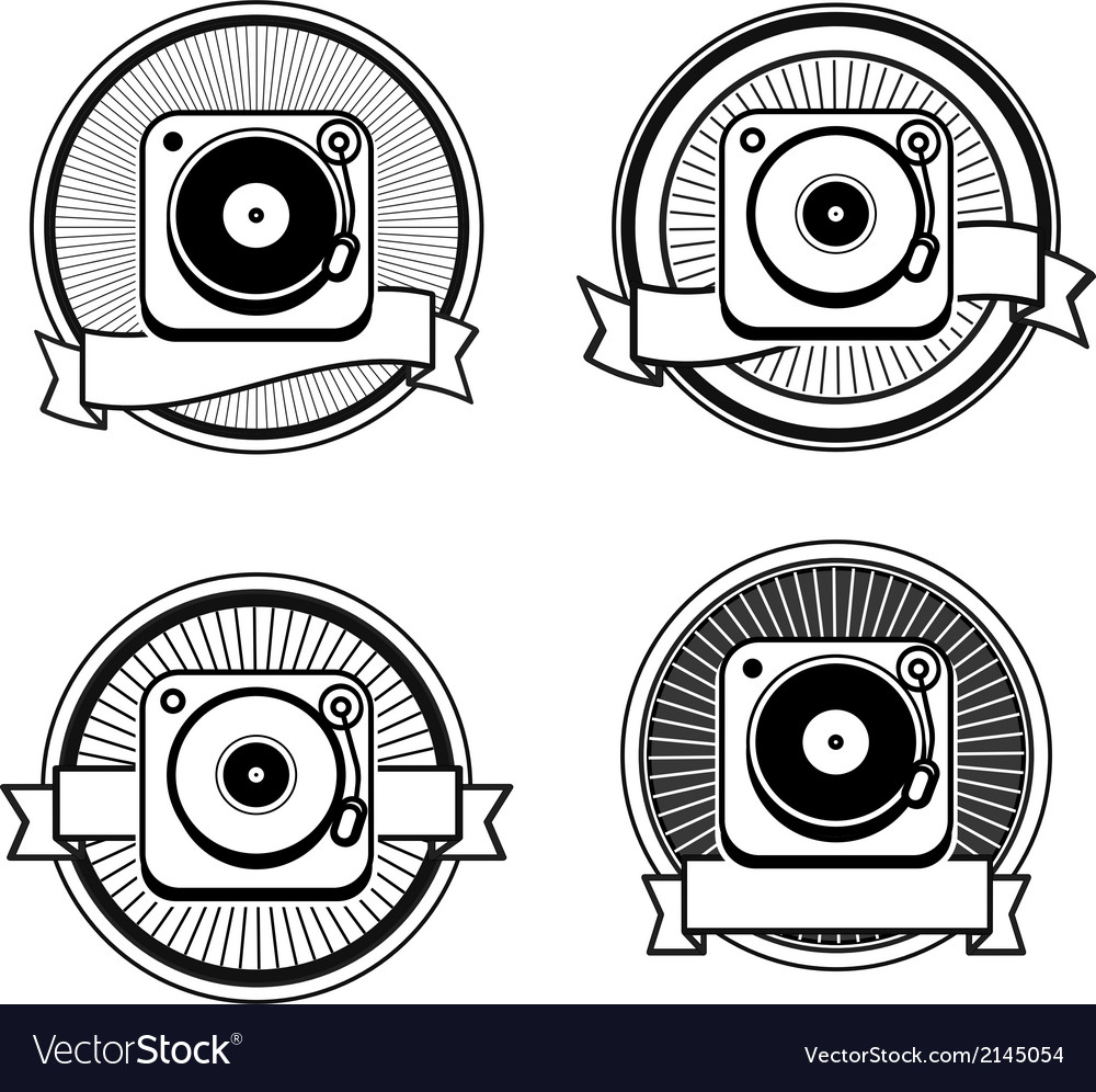 Black and white record player vector | Price: 1 Credit (USD $1)