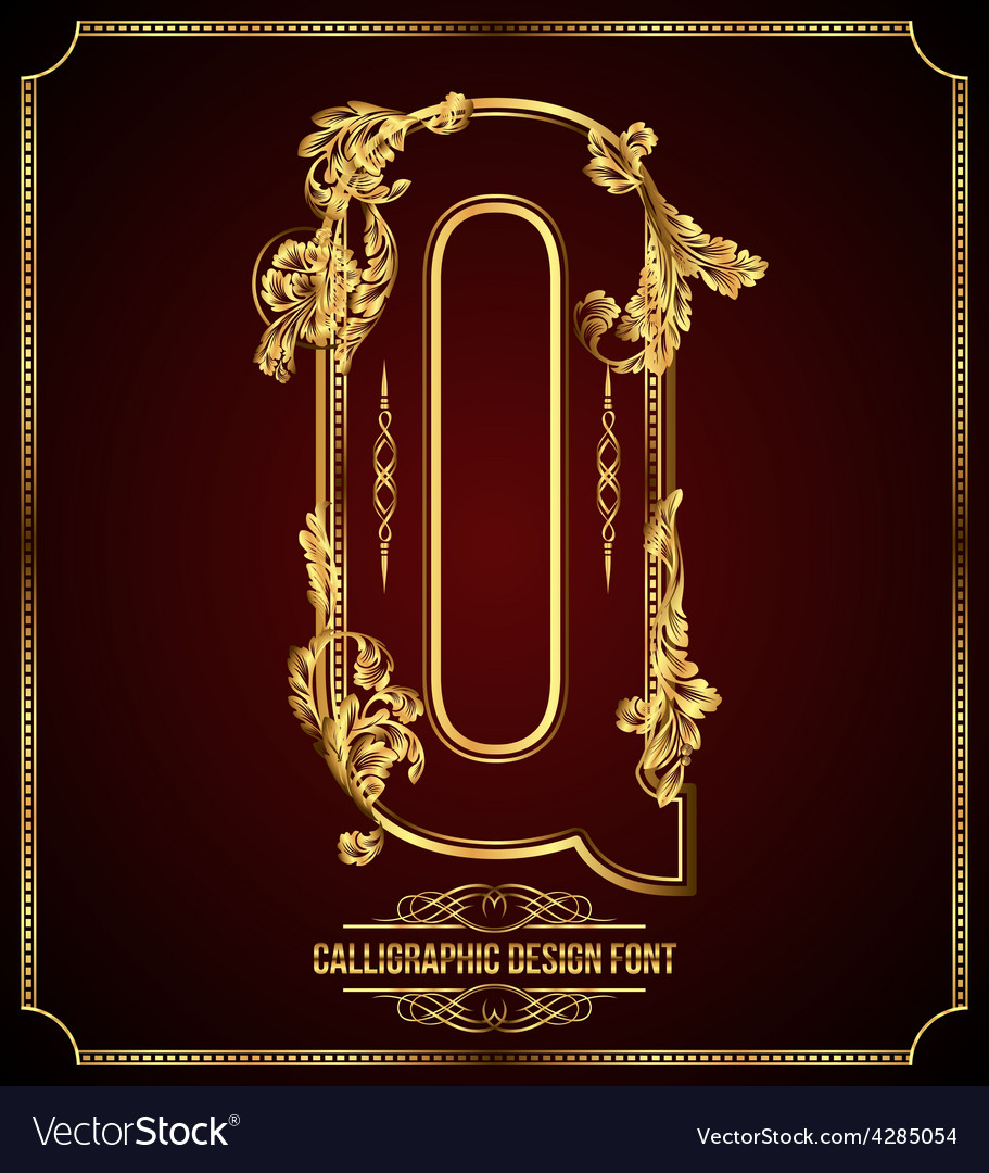 Calligraphic font letter q vector