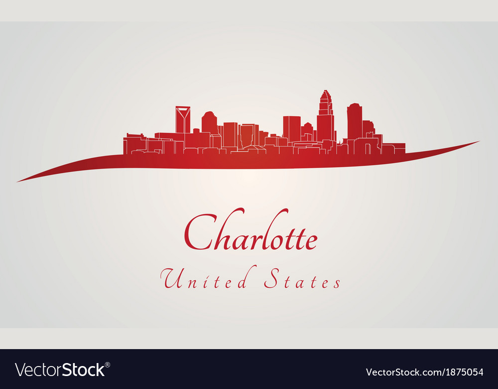 Charlotte skyline in red vector | Price: 1 Credit (USD $1)