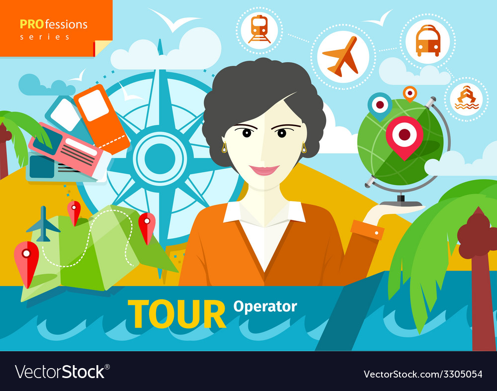 Female travel agent holding globe with pointers vector | Price: 1 Credit (USD $1)