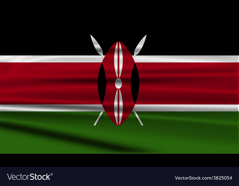 Flag of kenya with old texture vector | Price: 1 Credit (USD $1)
