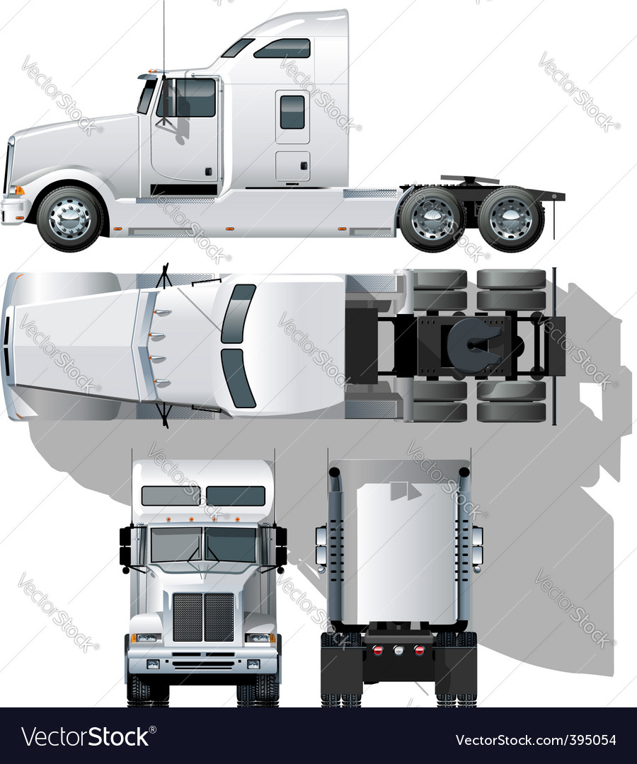 hide tailed semi truck vector | Price: 3 Credit (USD $3)