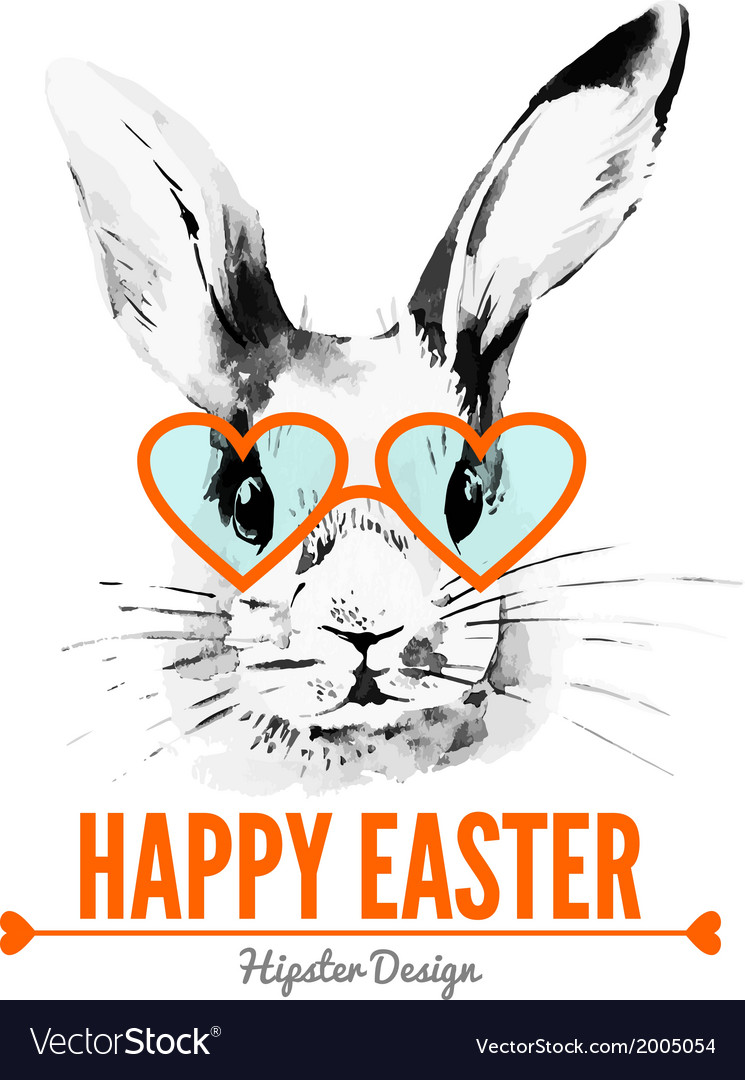 Hipster easter rabbit card vector | Price: 1 Credit (USD $1)