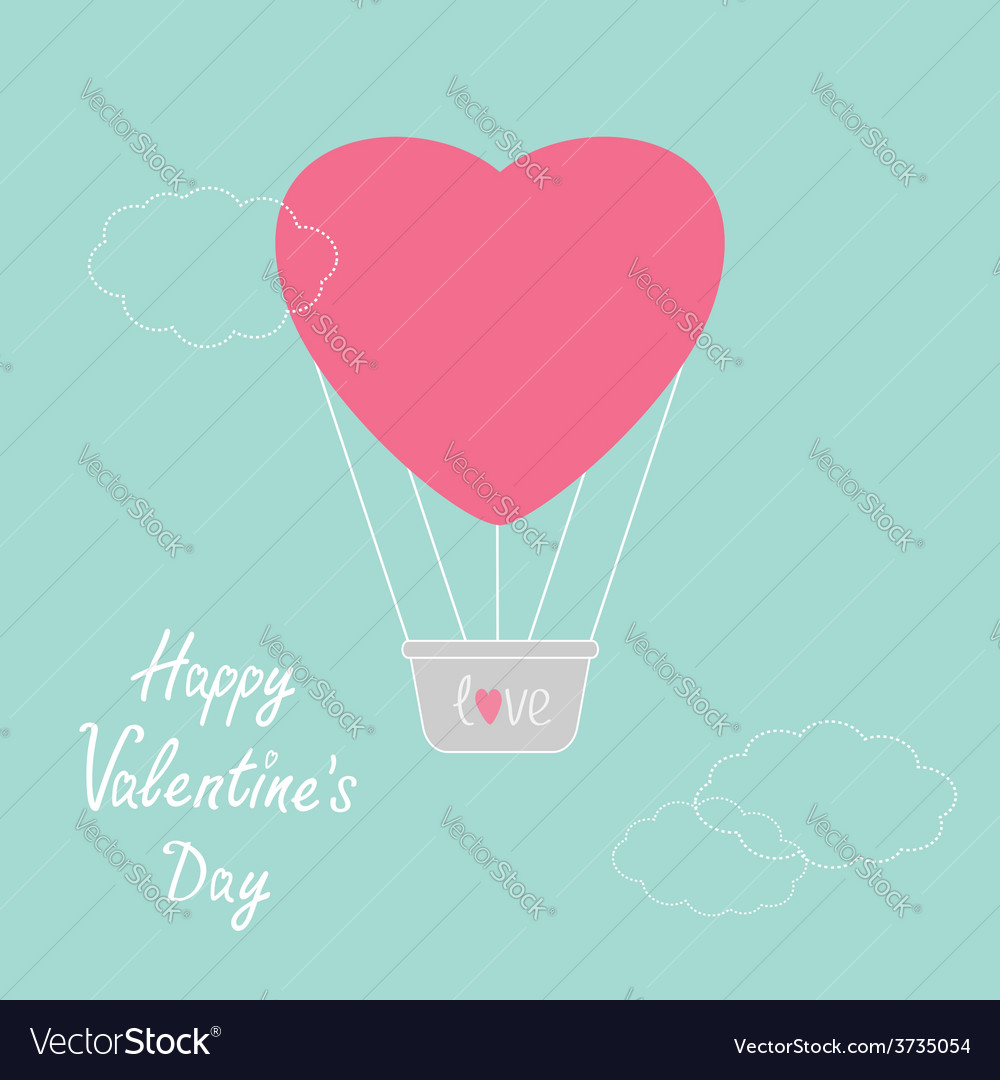 Hot air balloon in shape of heart dash line clouds vector | Price: 1 Credit (USD $1)