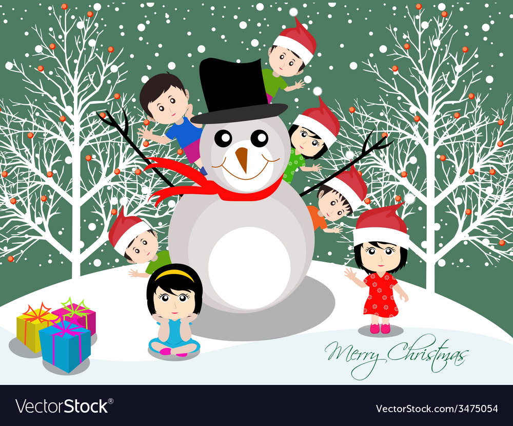Merry christmas with happy kids and snowman vector | Price: 1 Credit (USD $1)