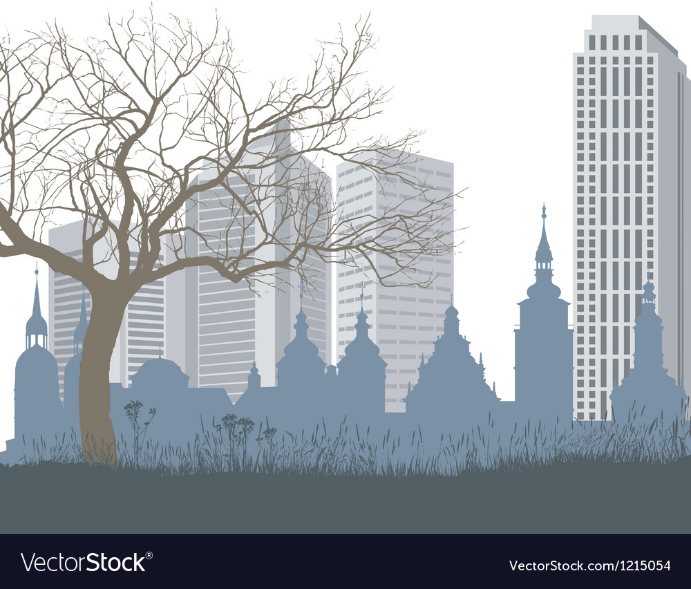 Nature the old and new city vector | Price: 1 Credit (USD $1)