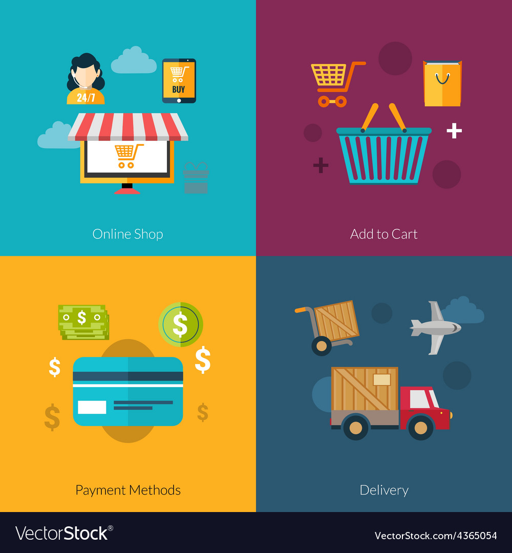 Online shopping set vector