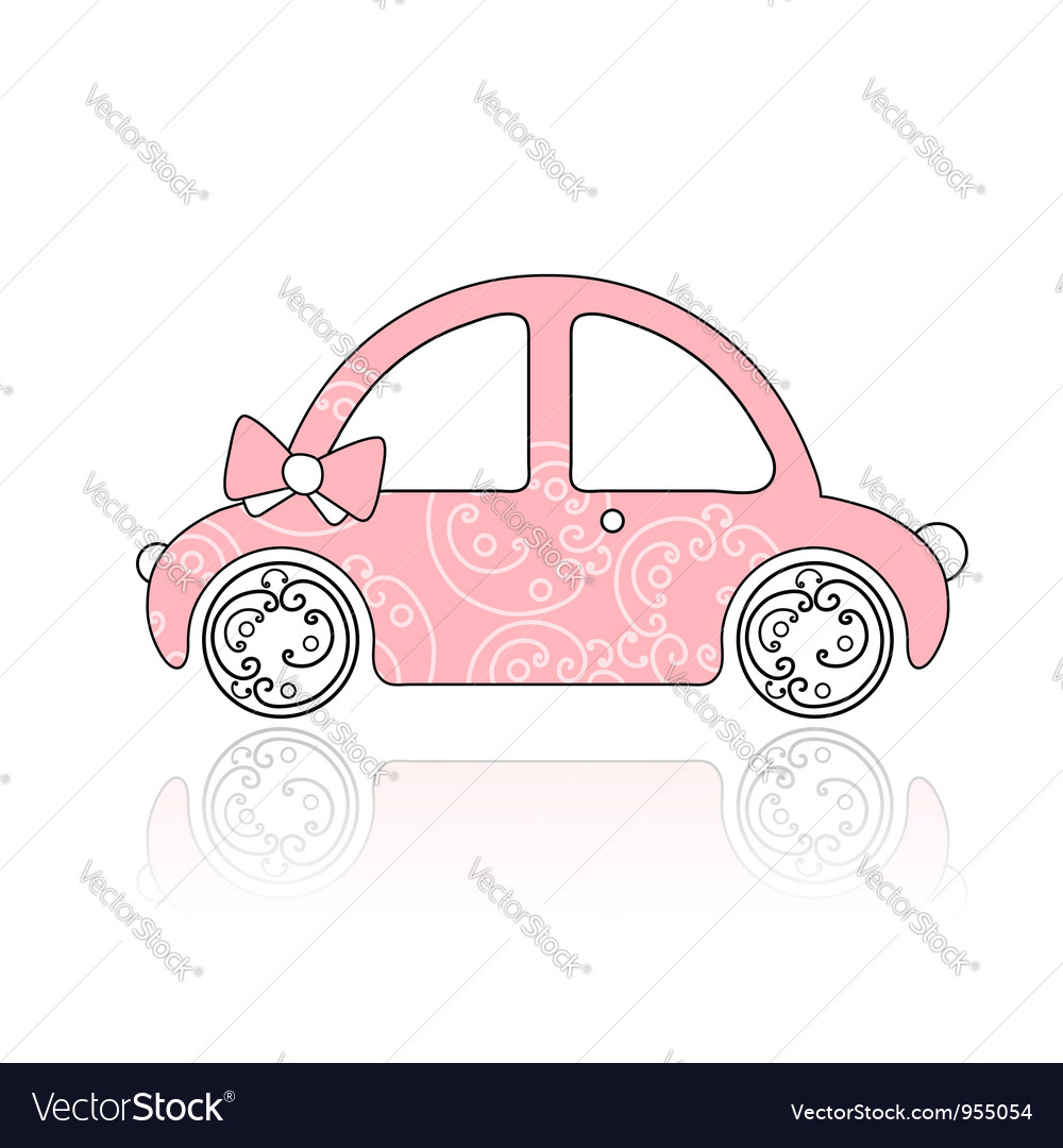 Pink female car with floral ornament vector | Price: 1 Credit (USD $1)