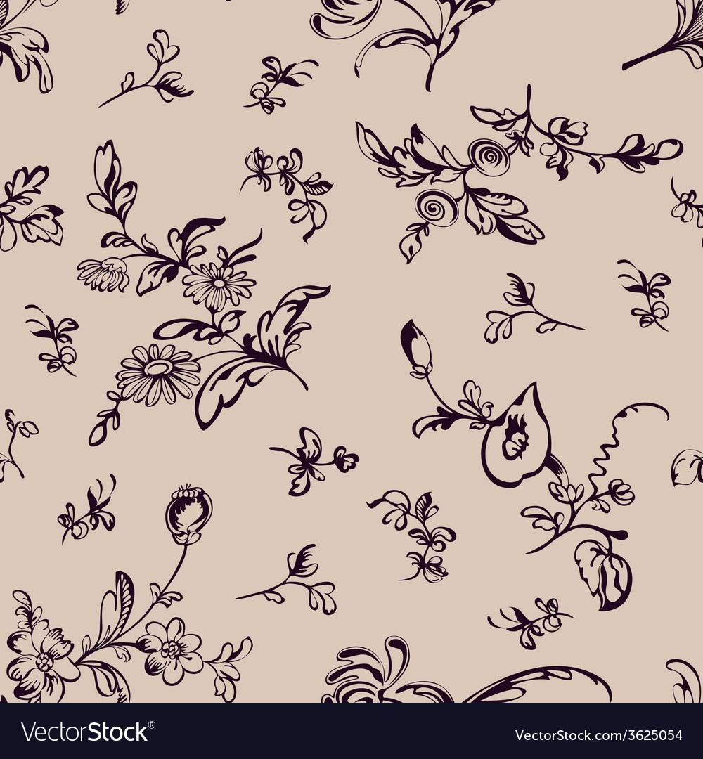 Seamless pattern flower beige background vector | Price: 1 Credit (USD $1)