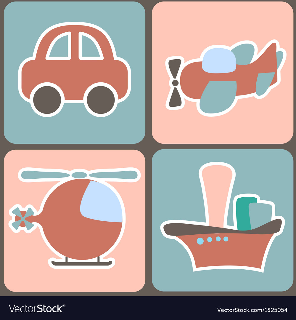 Seamless pattern with cartoon transport vector | Price: 1 Credit (USD $1)