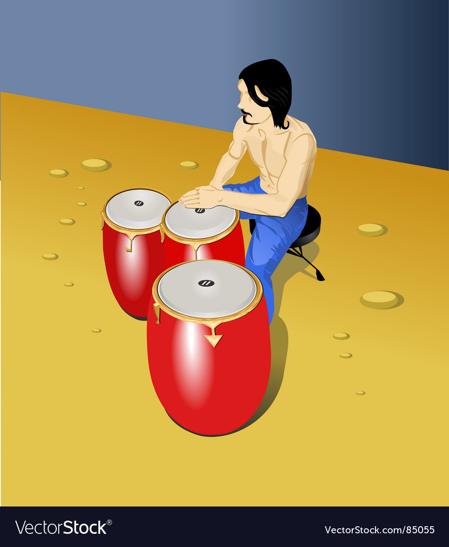Drummer on beach vector | Price: 1 Credit (USD $1)