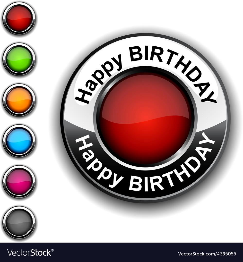Happy birthday button vector | Price: 1 Credit (USD $1)