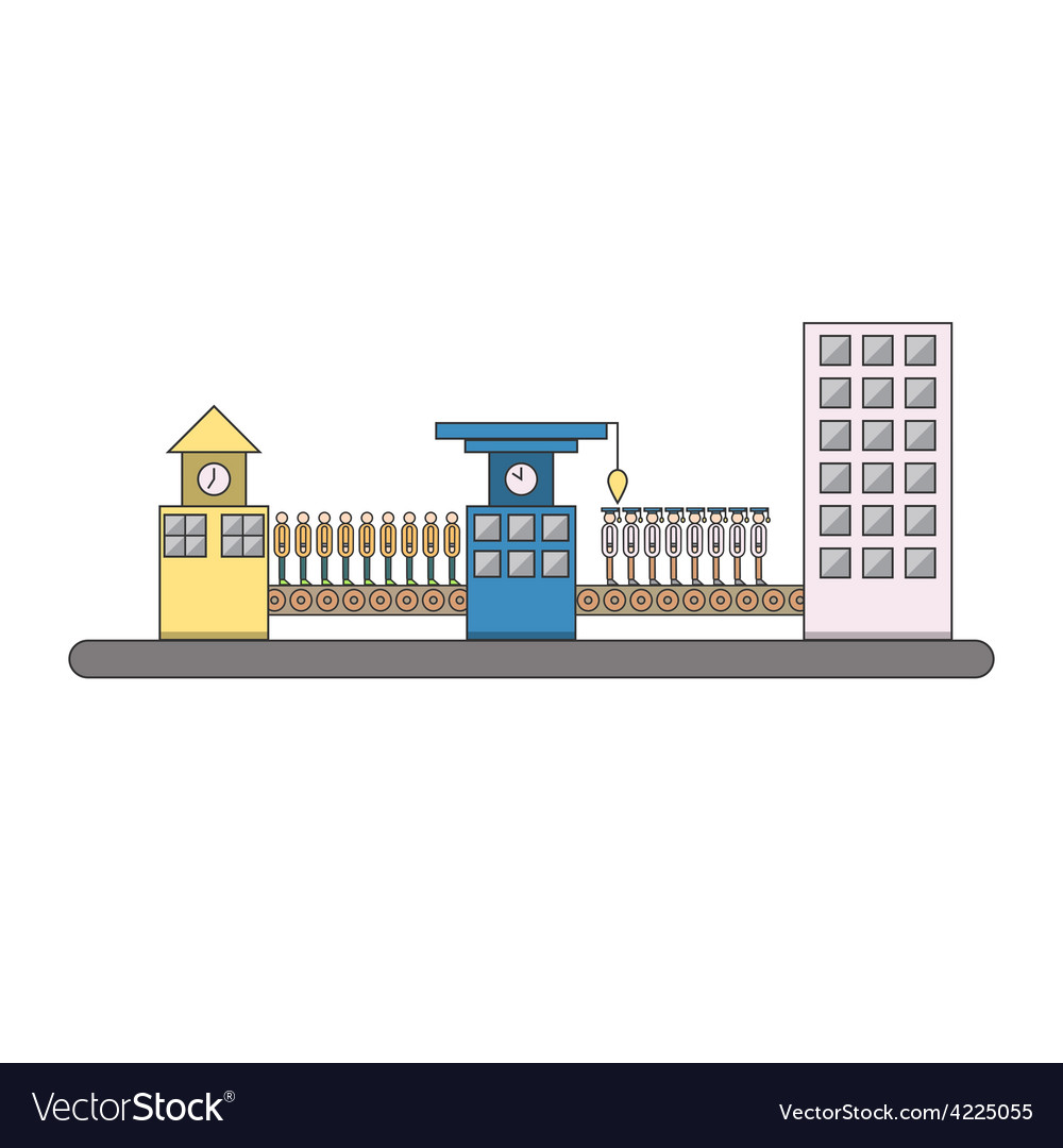 Isolated cartoon urban people life cycle factory vector | Price: 1 Credit (USD $1)