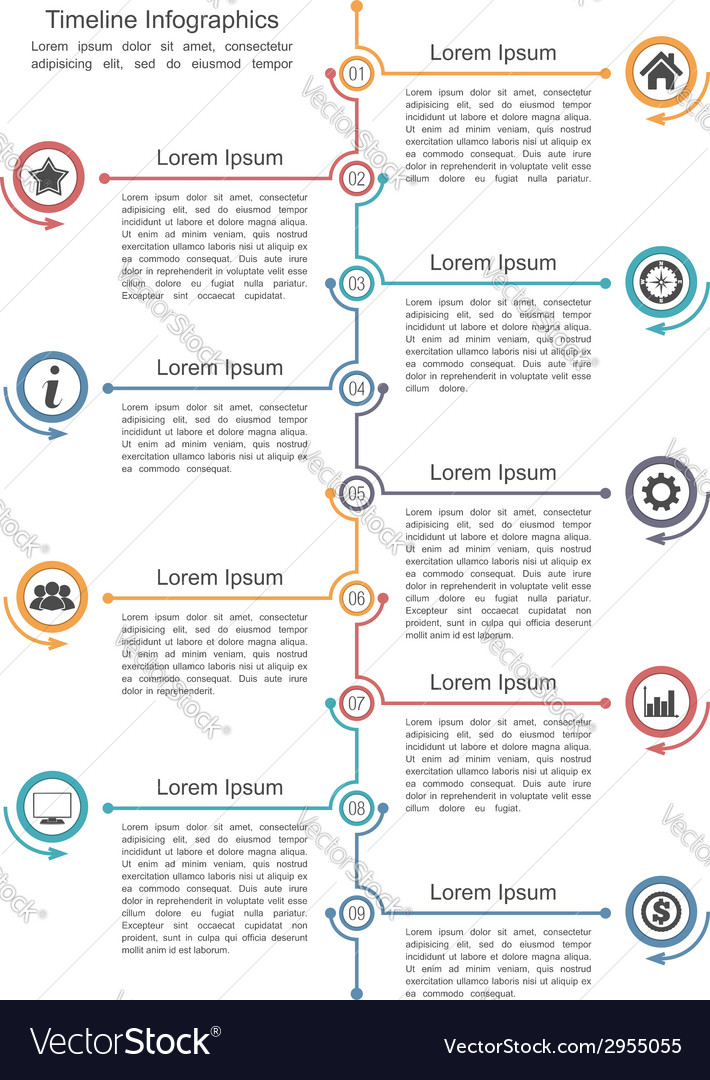 Timeline infographics template vector | Price: 1 Credit (USD $1)