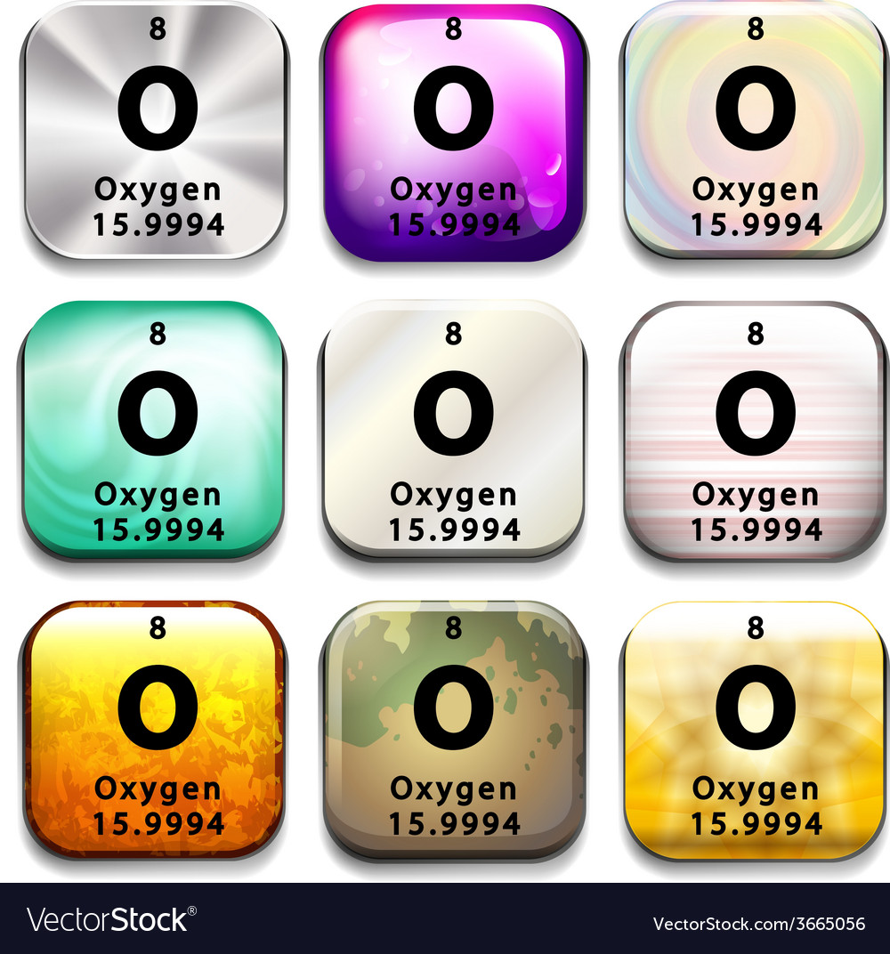A periodic table button showing oxygen vector | Price: 1 Credit (USD $1)