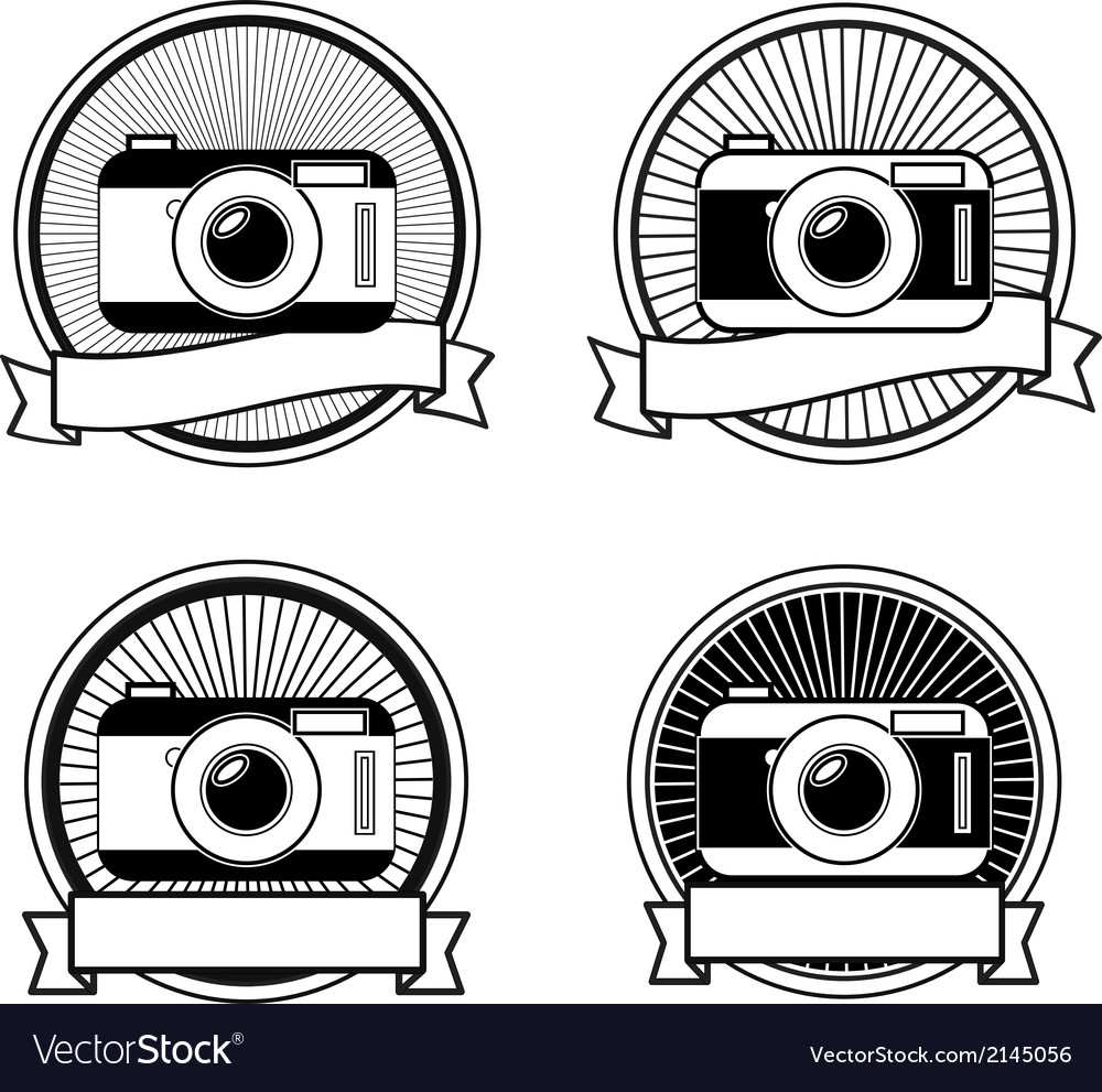 Black and white camera stamps vector | Price: 1 Credit (USD $1)