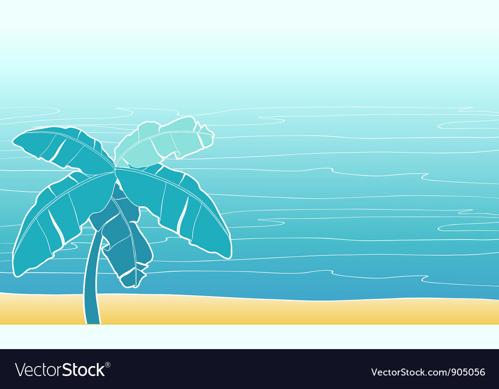 Card with palm trees for your design vector | Price: 1 Credit (USD $1)