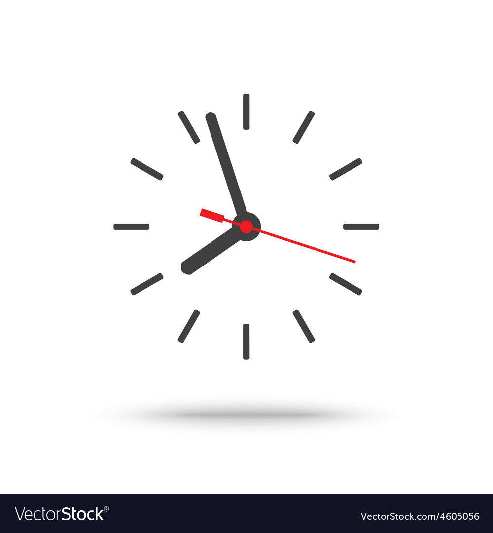 Clock icon with red second hand isolated vector